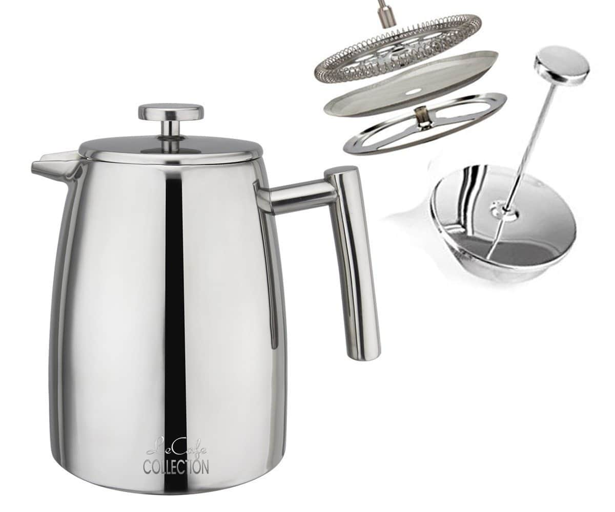 LeCafe Double-Walled Stainless Steel Cafetiere French Press