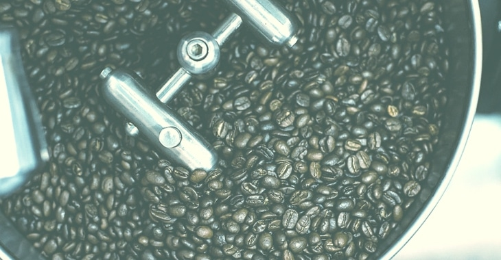 coffee beans inside a container ready for brewing