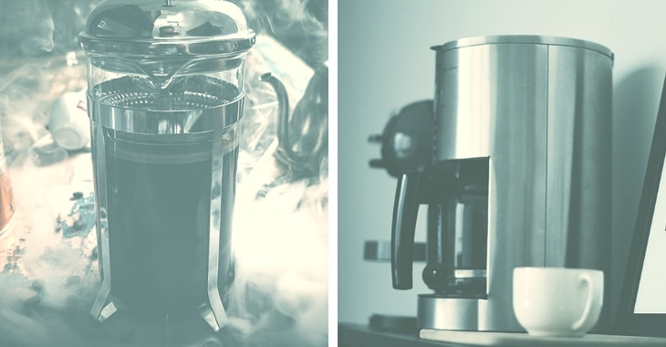 two coffee machines with different process of brewing coffees