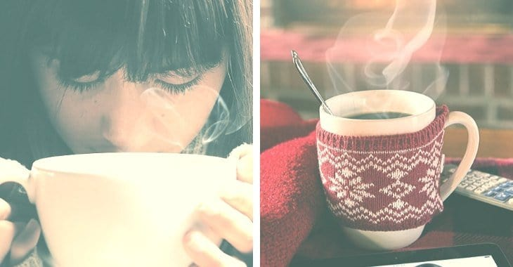 a woman drinking a hot cup of coffee in winter