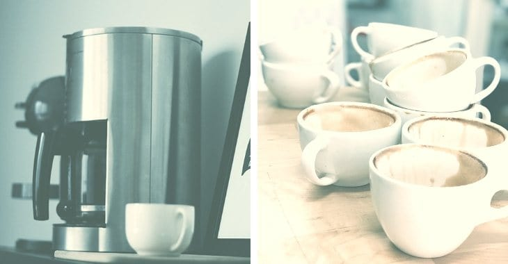 Coffee Makers with white cups of coffee