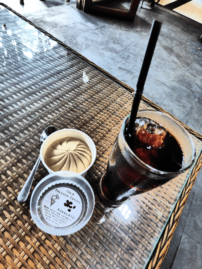 cold brew coffee and ice cream on table