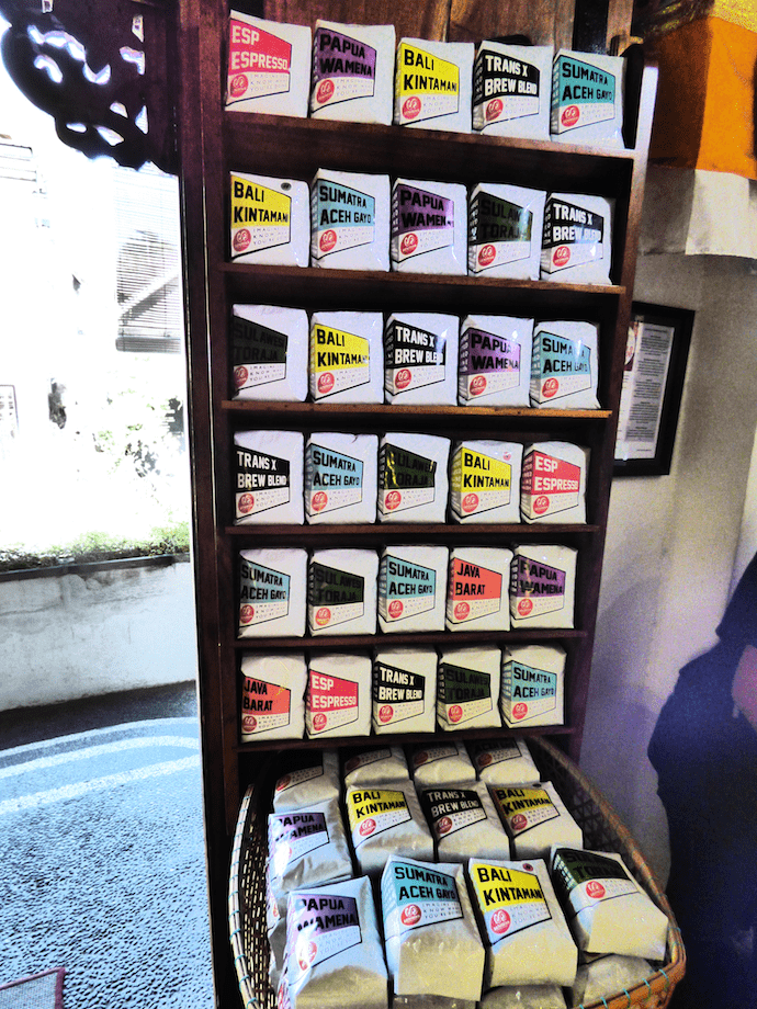 coffee beans in packets at coffee shop