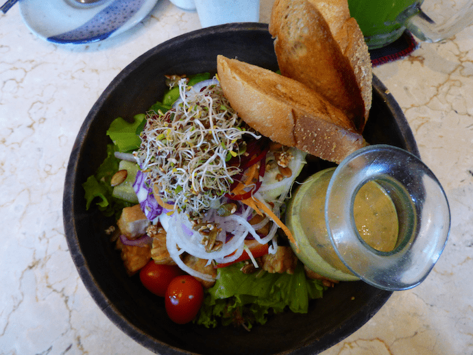 colourful salad on table