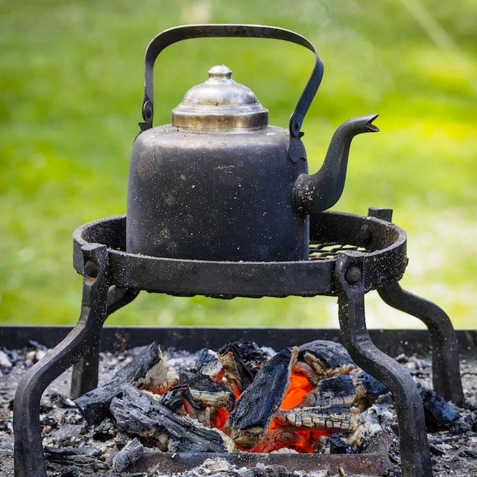 coffee pot above fire