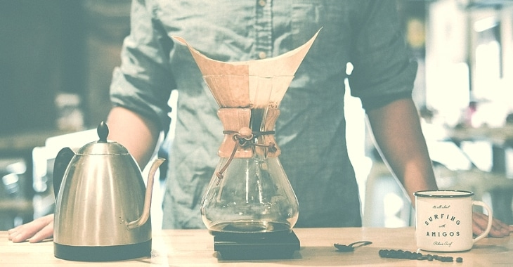 a simple way of brewing coffee from coffee beans