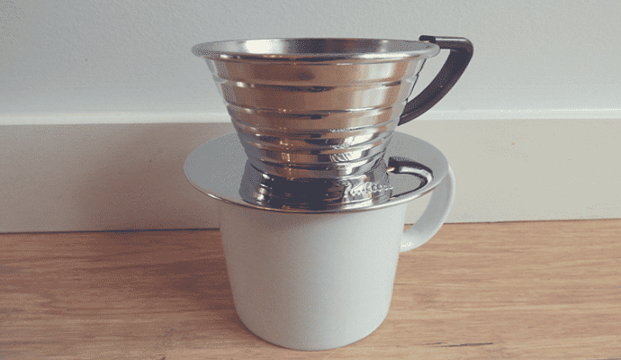 the kalita wave brewing on a cup