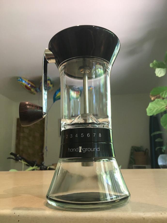 an empty hand ground grinder