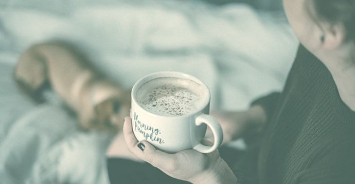 a cup of hot coffee before sleeping