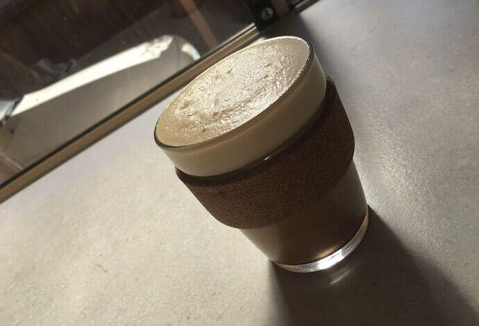 Primal egg coffee in a glass cup
