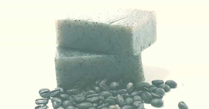 2 bars of coffee soap with coffee beans