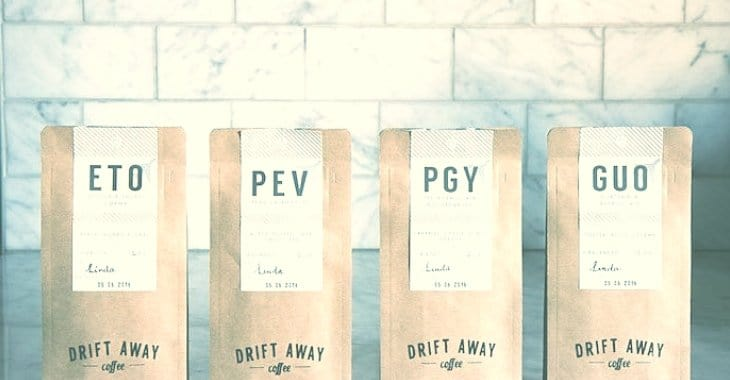 Four bags of Drift Away Coffee