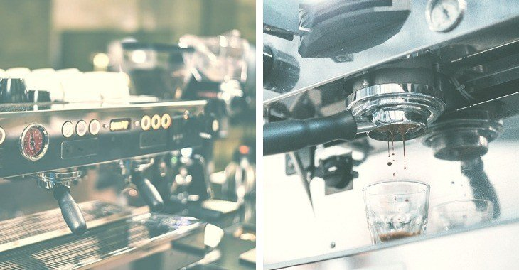 espresso machines in taken in different angles