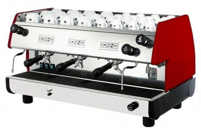 Silver and red La Pavoni Bar T 3
