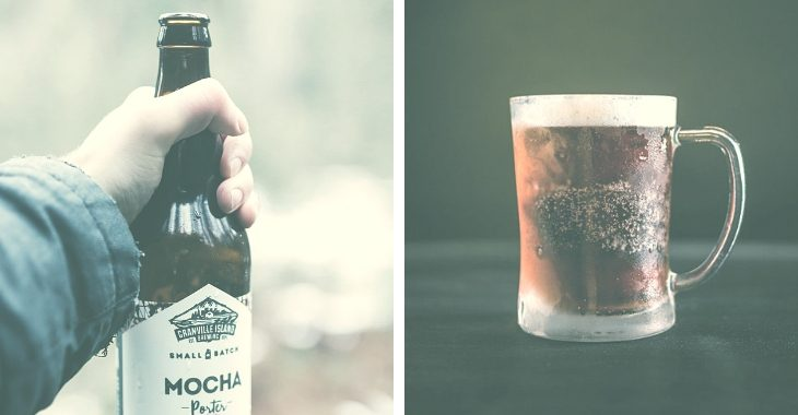 Coffee beers in a bottle and in a mug