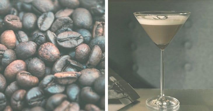 coffee beans and a glass of coffee martini
