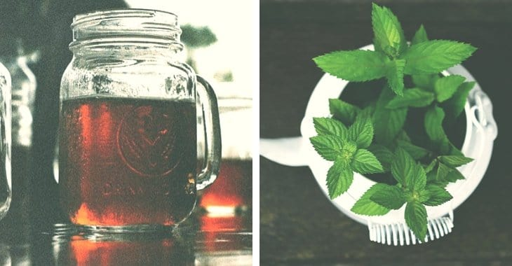 iced coffee in a mason jar and mint leaves