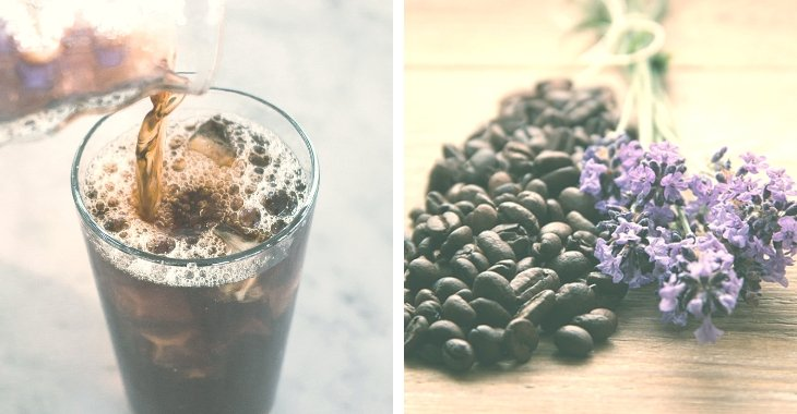 cold coffee poured inside a glass and coffee beans piled together with lavender