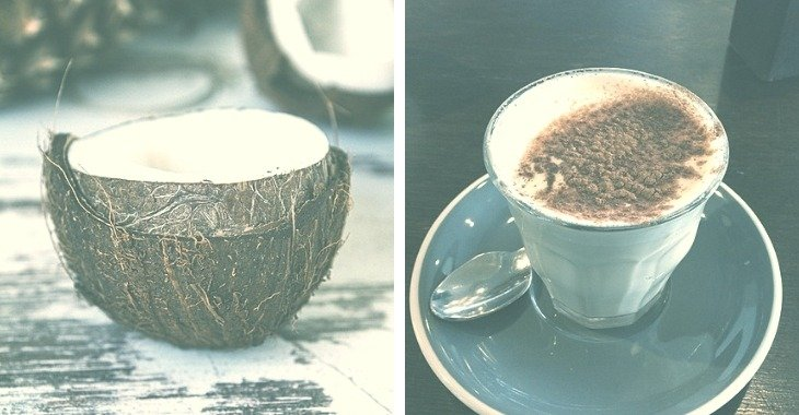 coconut and a glass of coconut latte