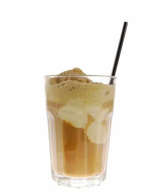 a glass of mocha shake