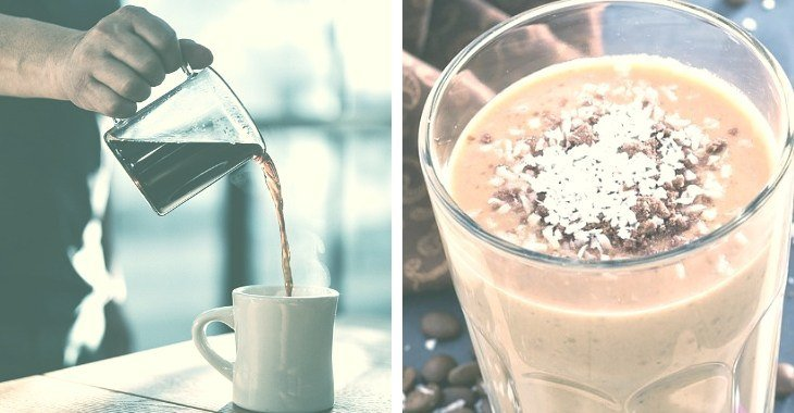 pouring dark coffee and a finished product of an iced coconut coffee