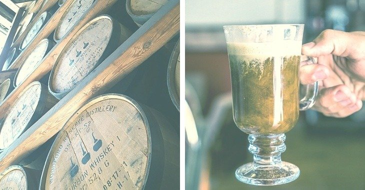 preserved whiskey inside barrels and a cup of coffee