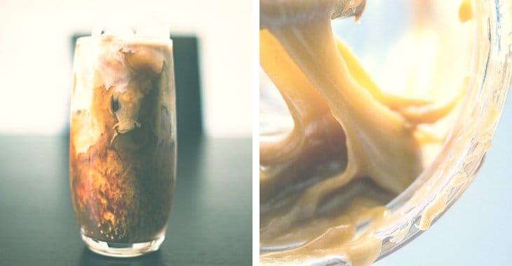 caramel and caramel iced coffee