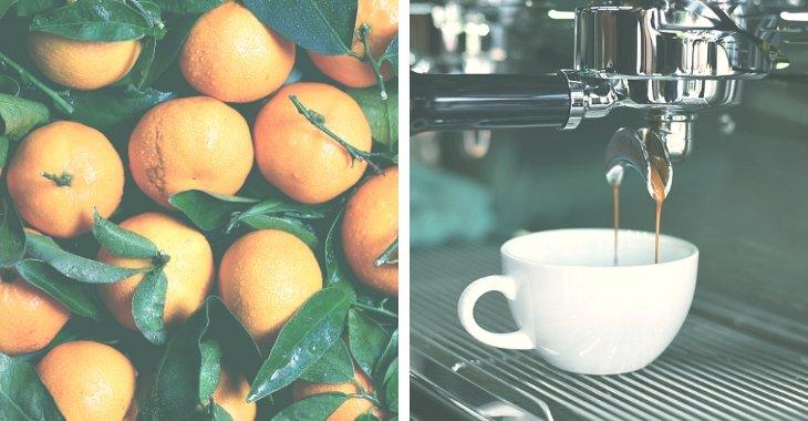 orange fruits and a coffee