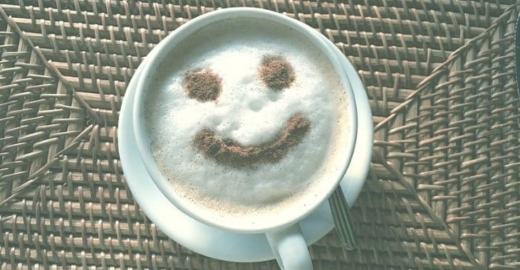happy face designed coffee