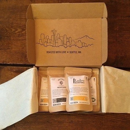 A box of coffee beans from bean box coffee company