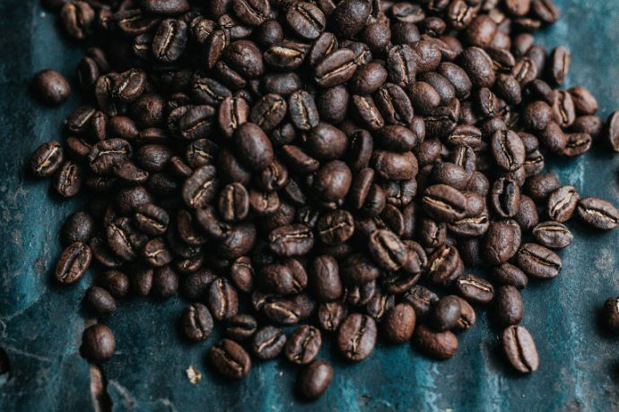 Roasted coffee beans on a table