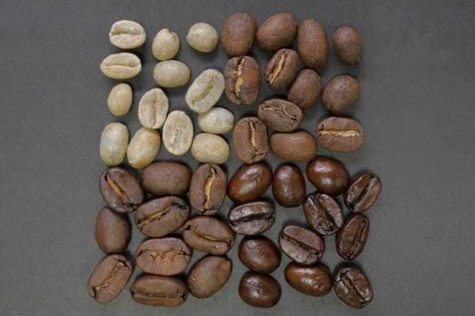 Different levels of coffee roast