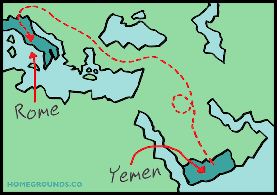 how coffee made it from yemen to rome