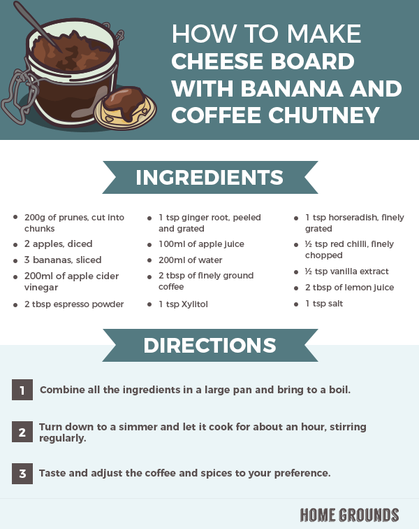 An instruction on making Cheese board with banana and coffee chutney