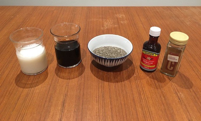 Ingredients of Coffee Chia Pudding
