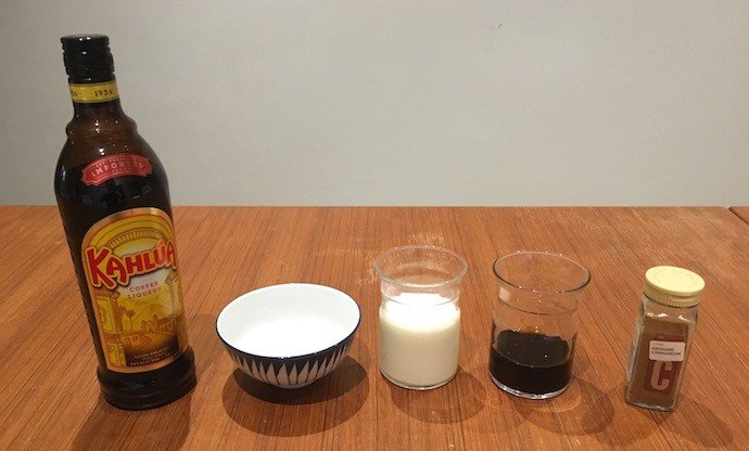 Ingredients of Coconut Kahlua Latte
