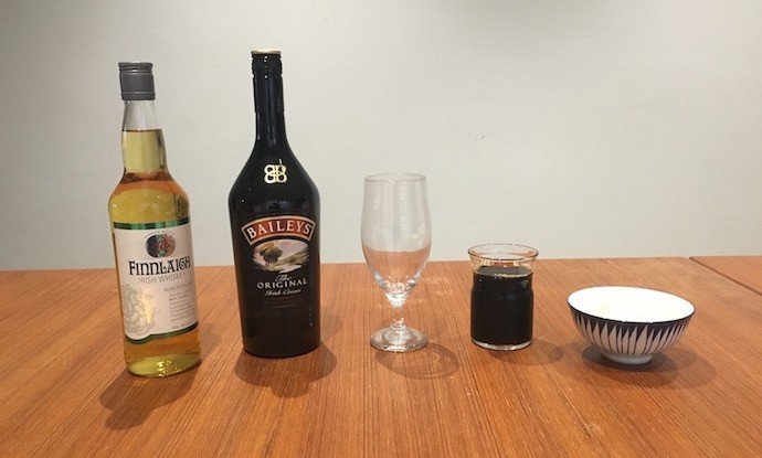 Ingredients of Cold Drip Irish Coffee
