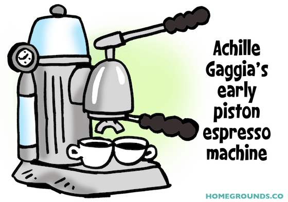 a drawing of an early Gaggia piston espresso machine