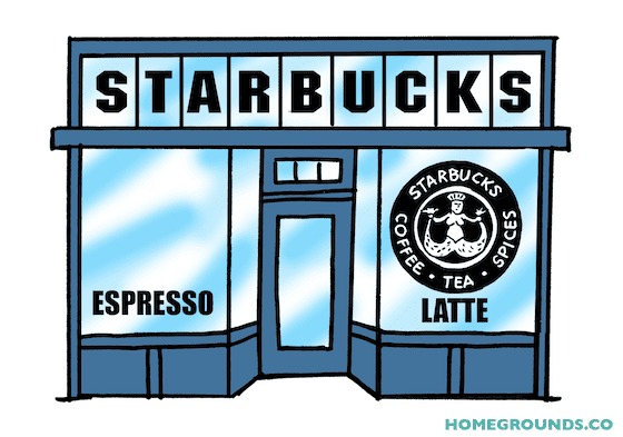 a drawing of a starbucks store facade