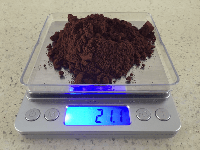 coffee grounds in a scale