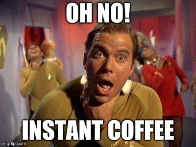 Meme of man shocked about instant coffee