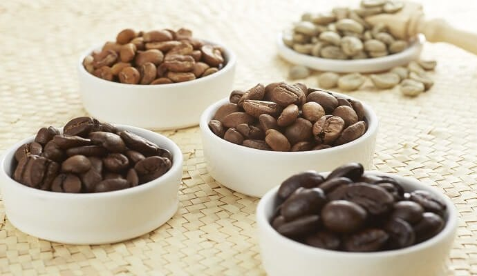 Coffee beans, from green to dark