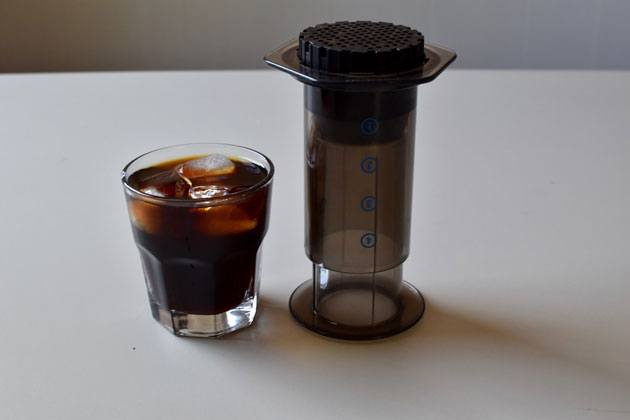 Cold brew concentrate made with an Aeropress coffee maker