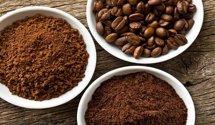 3 types of coffee: instant, ground, and whole bean