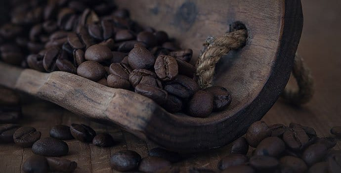 coffee beans in a log