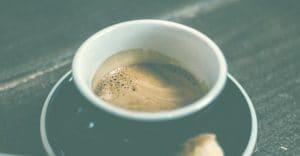 half full espresso in a cup