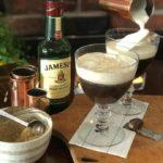 Adding cream for step 5 of irish coffee recipe