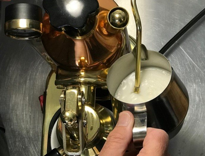 Steam wand depth in milk, for frothing