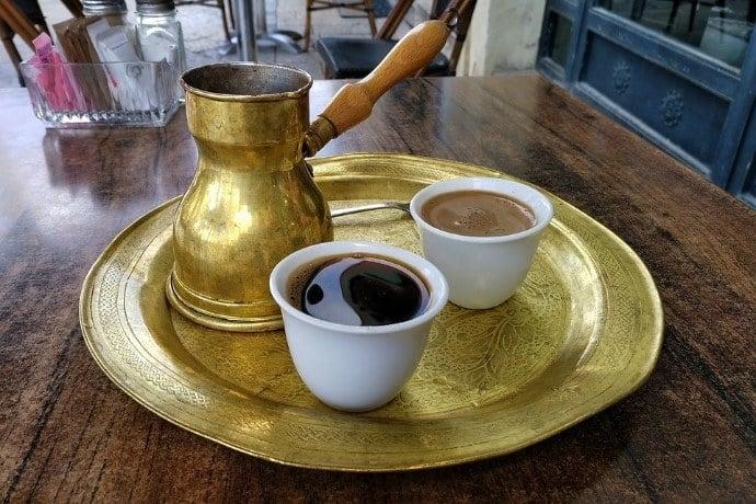 Brass ibrik plus two cups