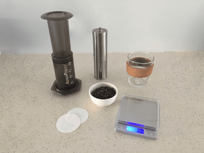 Items needed to make espresso with your aeropress